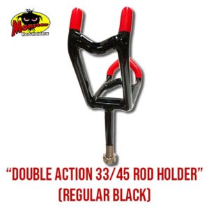 Double Action 33/45 Rod Holder - Black & Red, Front View